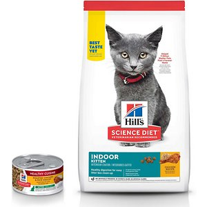 Hill's Science Diet Kitten Healthy Cuisine Roasted Chicken & Rice Medley Canned Cat Food, 2.8-oz, case of 24 + Hill's Science Diet Indoor Kitten Dry
