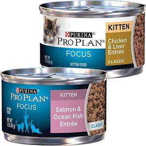 Purina Pro Plan Focus Kitten Classic Salmon & Ocean Fish Entree Canned Cat Food, 3-oz, case of 24 + Purina Pro Plan Focus Kitten Classic Chicken & Li
