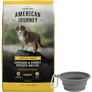 American Journey Puppy Chicken & Sweet Potato Recipe Grain-Free Dry Dog Food + Frisco Silicone Collapsible Travel Bowl with Carabiner