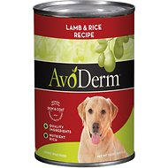 AvoDerm Natural Lamb Meal & Rice Formula Canned Dog Food, 13-oz, case of 12
