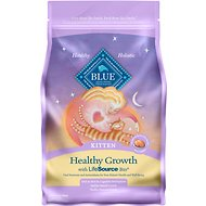 Blue Buffalo Healthy Growth Kitten Chicken & Brown Rice Recipe Dry Cat Food, 3-lb bag