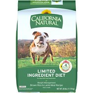 California Natural Adult Limited Ingredient Weight Management Brown Rice & Lamb Meal Recipe Dog Food, 26-lb bag