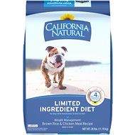 California Natural Adult Limited Ingredient Weight Management Brown Rice & Chicken Meal Recipe Dog Food, 26-lb bag