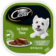 Cesar Classic Loaf in Sauce Top Sirloin Flavor Dog Food Trays, 3.5-oz, case of 24