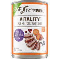 Dogswell Vitality Duck & Sweet Potato Stew Recipe Grain-Free Canned Dog Food, 13-oz, case of 12