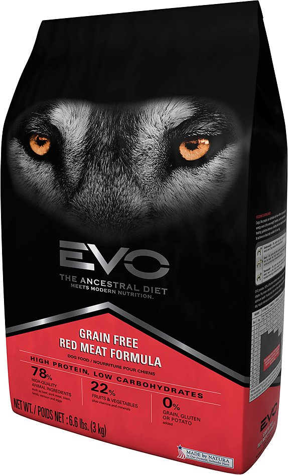 Evo grain free red meat formula large bites dry dog food for Evo red meat dog food