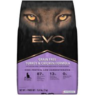 EVO Grain Free Turkey & Chicken Formula Cat & Kitten Food, 15.4-lb bag