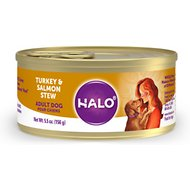 Halo Turkey & Salmon Recipe Adult Canned Dog Food, 5.5-oz, case of 12