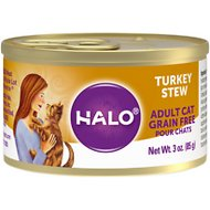 Halo Turkey Recipe Grain-Free Adult Canned Cat Food, 3-oz, case of 12