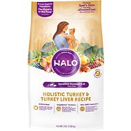 Halo Holistic Turkey & Turkey Liver Recipe Sensitive Stomach Dry Cat Food, 3-lb bag