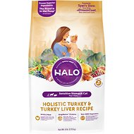 Halo Holistic Turkey & Turkey Liver Recipe Sensitive Stomach Dry Cat Food, 6-lb bag
