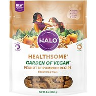 Halo Healthsome Vegan Biscuits with Peanut 'n Pumpkin Grain-Free Dog Treats, 8-oz