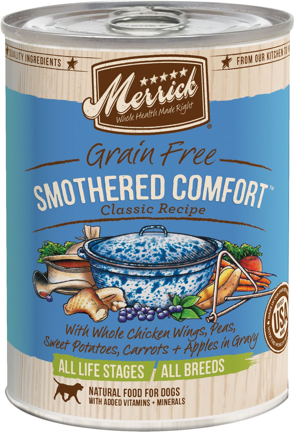 Merrick Grain-Free Smothered Comfort Canned Dog Food, 13.2-oz, case ...