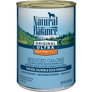 Natural Balance Original Ultra Whole Body Health Reduced Calorie Chicken, Salmon & Duck Formula Canned Dog Food, 13-oz, case of 12