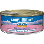 Natural Balance Original Ultra Whole Body Health Reduced Calorie Chicken, Salmon & Duck Formula Canned Cat Food, 6-oz, case of 24