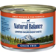 Natural Balance L.I.D. Limited Ingredient Diets Sweet Potato & Fish Formula Grain-Free Canned Dog Food, 6-oz, case of 12