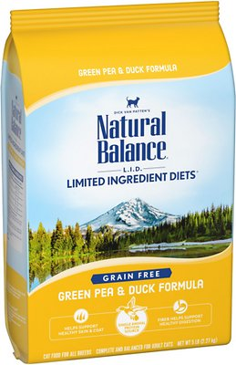 3. Natural Balance L.I.D. Limited Ingredient Diets Green Pea & Duck Formula Grain-Free Dry Cat Food