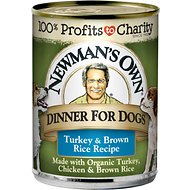 Newman's Own Dinner For Dogs Turkey & Brown Rice Recipe Canned Dog Food, 12.7-oz, case of 12
