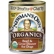 Newman's Own Organics Grain-Free Beef & Liver Canned Dog Food, 12-oz, case of 12