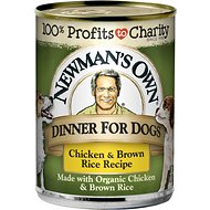 Newman's Own Dinner For Dogs Chicken & Brown Rice Recipe Canned Dog Food, 12.7-oz, case of 12