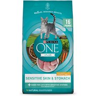 Purina ONE Sensitive Skin & Stomach Dry Cat Food, 16-lb bag