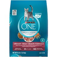 Purina ONE Urinary Tract Health Adult Formula Dry Cat Food, 16-lb bag