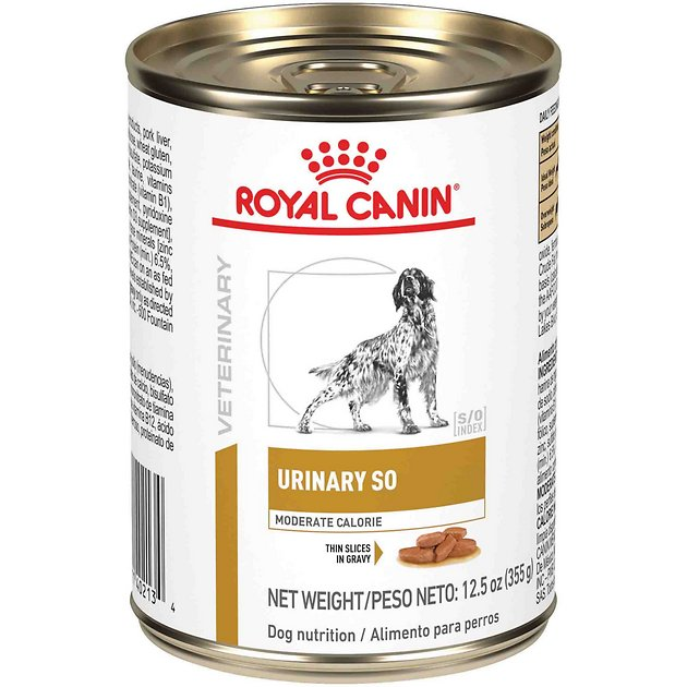 6. Royal Canin Moderate Calorie Urinary SO Veterinary Diet Thin Slices in Gravy Canned Dog Food