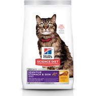 Hill's Science Diet Adult Sensitive Stomach & Skin Chicken & Rice Recipe Dry Cat Food, 7-lb bag