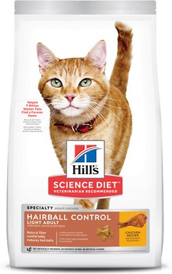 3. Hill's Science Diet Adult Hairball Control Light Dry Cat Food