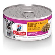 Hill's Science Diet Adult 7+ Small Paws Chicken & Barley Entree Canned Dog Food, 5.8-oz, case of 24