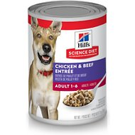 Hill's Science Diet Adult Beef & Chicken Entree Canned Dog Food, 13-oz, case of 12