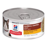 Hill's Science Diet Adult Hairball Control Savory Chicken Entree Canned Cat Food, 5.5-oz, case of 24
