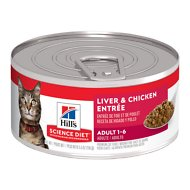 Hill's Science Diet Adult Liver & Chicken Entree Canned Cat Food, 5.5-oz, case of 24