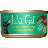 Tiki Cat Hookena Luau Ahi Tuna & Chicken in Chicken Consomme Grain-Free Canned Cat Food, 2.8-oz, case of 12