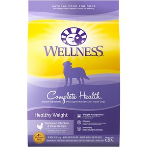 Wellness Complete Health Healthy Weight Deboned Chicken & Peas Recipe Dry Dog Food, 13-lb bag; Lean protein, and plenty of fruits and veggies! It\\\'s a diet that works for dogs, too! Wellness Complete Health Healthy Weight Dry Dog Food offers it up perfectly with this delicious dish. Chicken is complemented by apples, sweet potatoes, and brown rice to provide a meal that\\\'s satisfying for your pup and helps her maintain an ideal weight. It promotes hip and joint health as well, allowing her to live a long, happy, agile life.