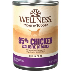 Wellness Ninety-Five Percent Chicken Grain-Free Canned Dog Food Topper, 13.2-oz, case of 12