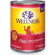 Wellness Complete Health Beef & Chicken Formula Grain-Free Canned Cat Food, 12.5-oz, case of 12