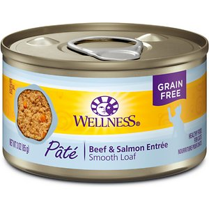 Wellness Complete Health Beef & Salmon Formula Grain-Free Canned Cat Food, 3-oz, case of 24; Nourish your kitty's nose-to-tail well-being with the protein-rich nutrition of Wellness Complete Health Beef & Salmon Formula Grain-Free Canned Cat Food. With beef and salmon as the top ingredients, this nutrient-dense, grain-free recipe contains all the protein your pal needs to support his strong muscles and energy to fuel all his adventures. Every bite is packed with omegas from flaxseeds to maintain a healthy skin and coat, plus antioxidants, taurine, vitamins and minerals to support immunity and overall health. Serve up a bowl and feel good about providing your pal with everything he needs to thrive, and nothing you wouldn't want him to eat, like fillers or anything artificial. Plus, the savory sauce will keep him coming back for more!