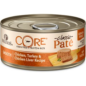 Wellness CORE Grain-Free Chicken, Turkey & Chicken Liver Formula Canned Cat Food, 5.5-oz, case of 24; Nourish your kitty's primal essence with the protein-rich nutrition of Wellness CORE Grain-Free Chicken, Turkey & Chicken Liver Formula Canned Cat Food. With chicken and turkey as the top ingredients, this nutrient-dense, grain-free recipe contains all the protein your pal needs to support his strong muscles and energy to fuel all his adventures. Every bite is packed with omegas from flaxseed and salmon oil to maintain a healthy skin and coat, plus antioxidants, taurine, vitamins and minerals to support immunity and well-being. Serve up a bowl and feel good about providing your pal with everything he needs to thrive from the core, and nothing you wouldn't want him to eat, like wheat, fillers, or anything artificial.
