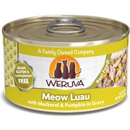 Weruva Meow Luau with Mackerel & Pumpkin Grain-Free Canned Cat Food, 3-oz, case of 24