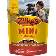 Zuke's Mini Naturals Peanut Butter & Oats Recipe Dog Treats, 6-oz