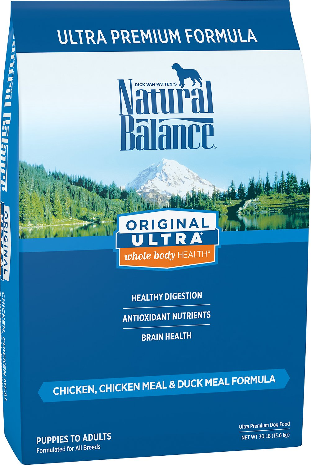 Natural Balance Original Ultra Whole Body Health Dry Dog Food, Chicken, Chicken Meal, Duck Meal Formula, 30-Pound