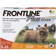 Frontline Plus Flea & Tick Small Breed Dog Treatment, 5- 22 lbs, 6 treatments