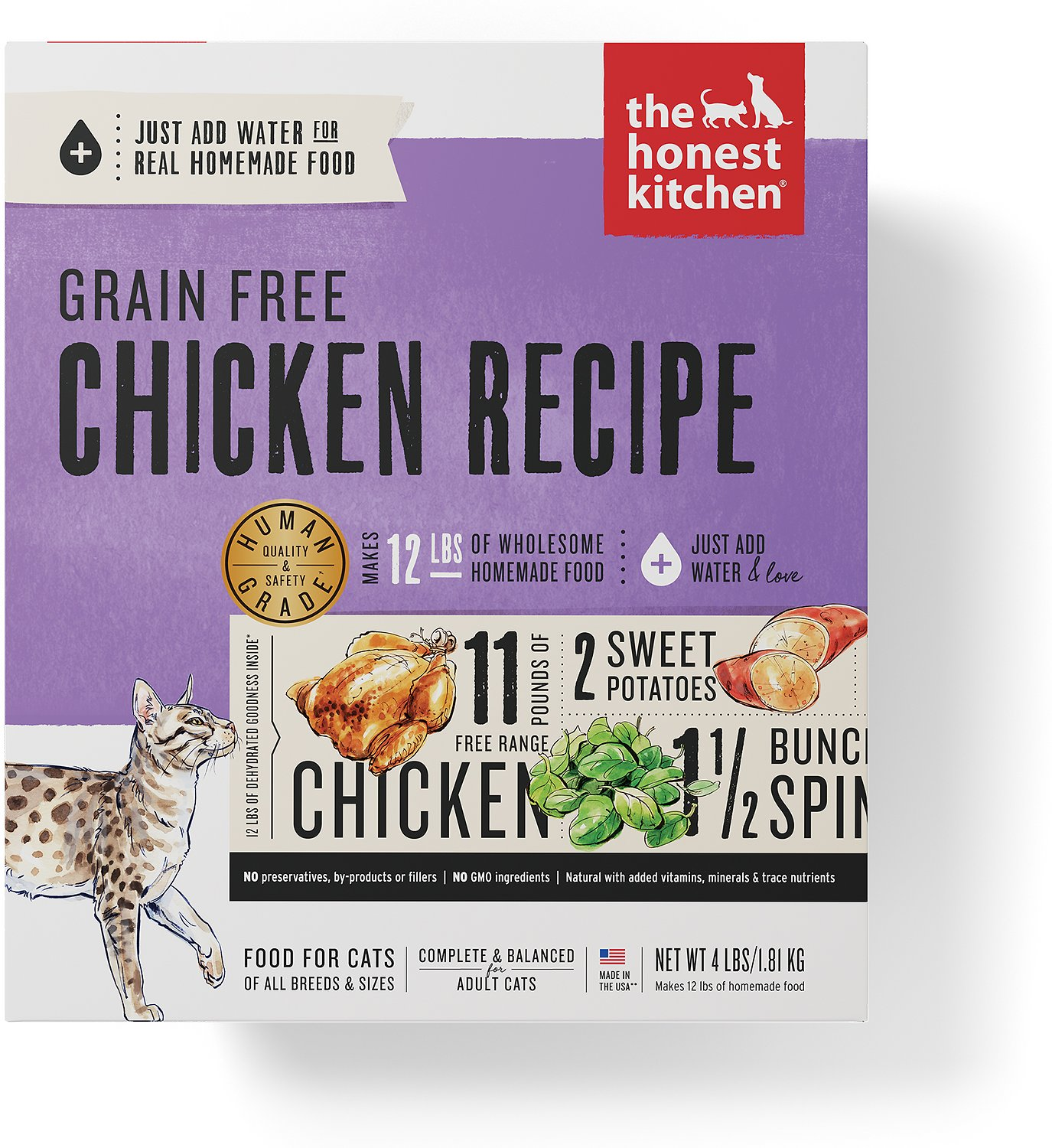 The Honest Kitchen Grain Free Chicken Recipe Dehydrated Cat Food 4 Lb Box