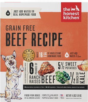 6. The Honest Kitchen Grain-Free Beef Recipe Dehydrated Dog Food