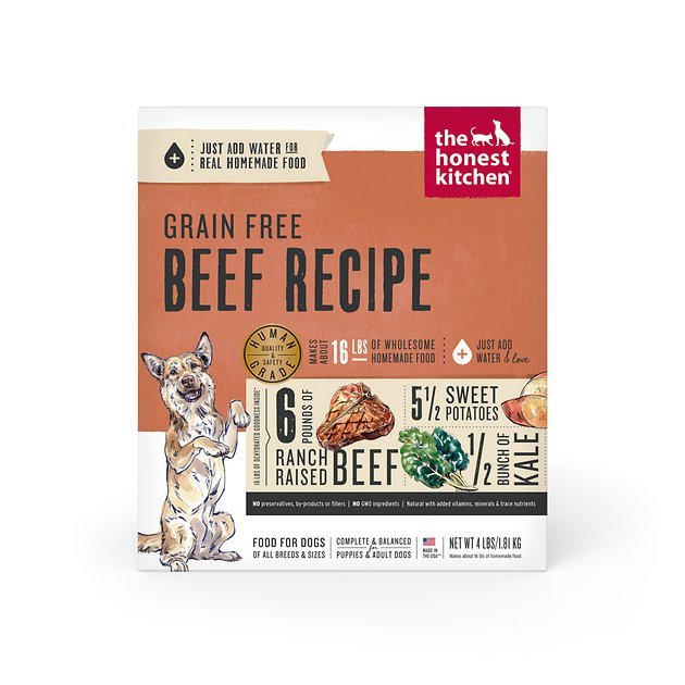 The Honest Kitchen Grain Free Beef Recipe Dehydrated Dog Food 4 Lb Box
