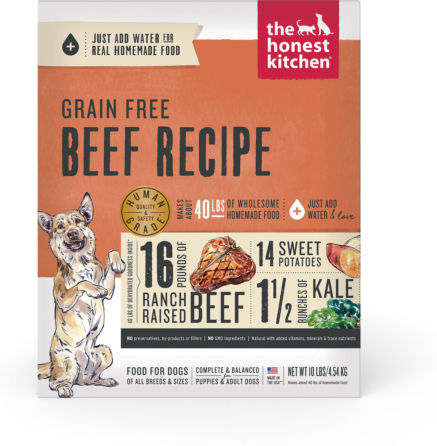 The Honest Kitchen Grain-Free Beef Recipe Dehydrated Dog Food, 10-lb ...