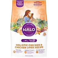Halo Holistic Chicken & Chicken Liver Recipe Adult Dry Cat Food, 11.5-lb bag