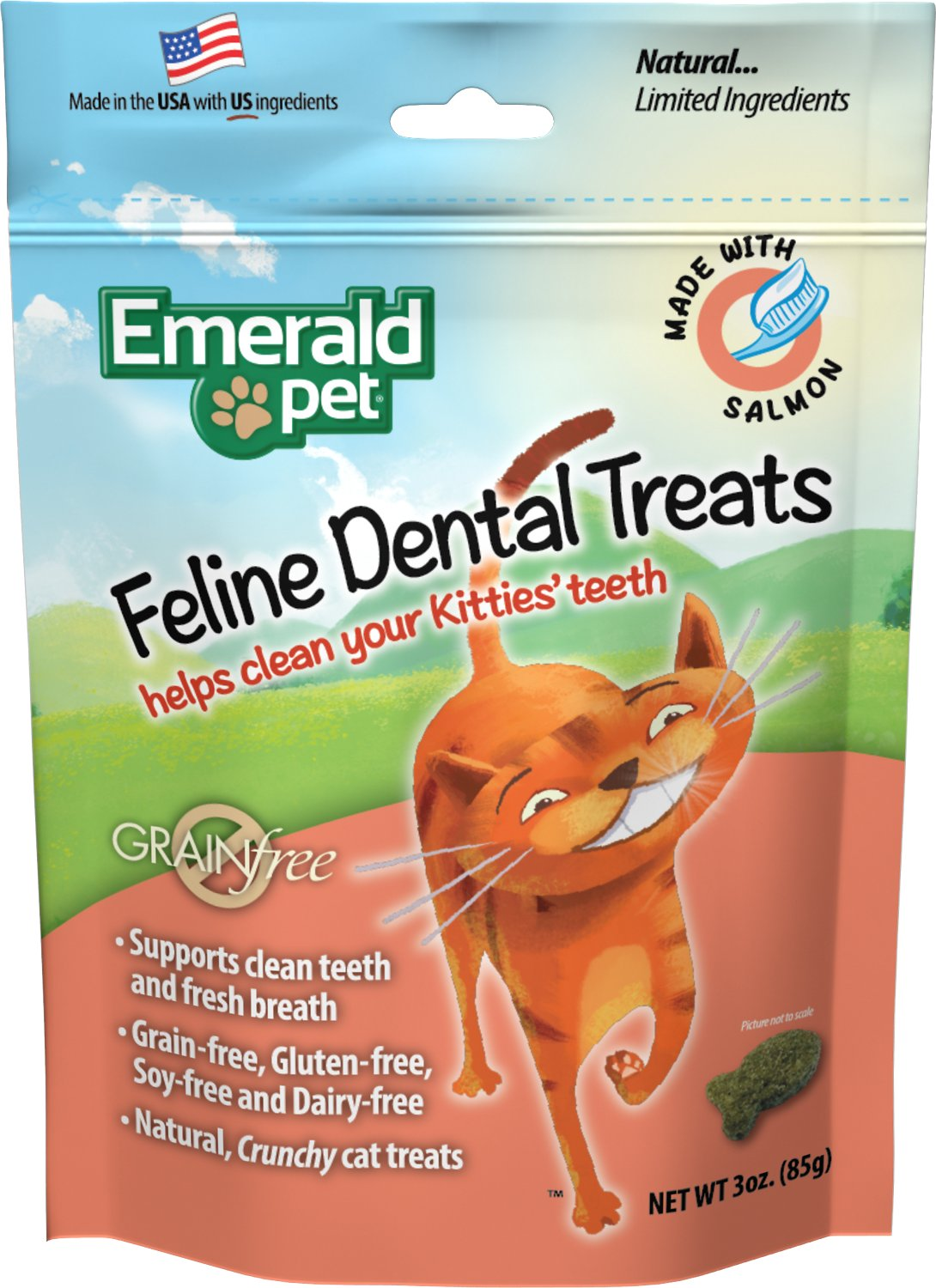 Emerald Pet Feline Dental Treats with Salmon Cat Treats, 3