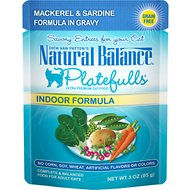 Natural Balance Platefulls Indoor Formula Mackerel & Sardine in Gravy Grain-Free Cat Food Pouches, 3-oz pouch, case of 24